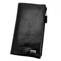 Vyriška odinė juodos spalvos piniginė su užsegimu