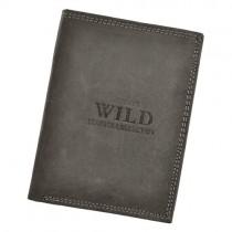 """Vyriška """"WILD"""" pilkos spalvos odinė piniginė"""