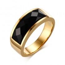 Vyriškas auksinės spalvos nerūdijačio plieno žiedas su agato akmeniu