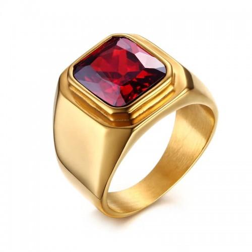 Vyriškas auksinės spalvos žiedas su cirkonio akmeniu