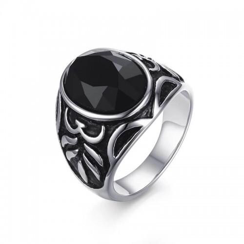 Vyriškas nerūdijančio juvelyrinio plieno žiedas su agato akmeniu