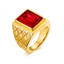 Vyriškas auksinės spalvos žiedas su krištolo akmeniu