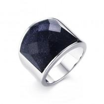 Vyriškas nerūdijančio plieno žiedas su mėlynuoju kalnų akmeniu