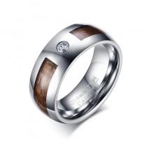 Vyriškas volframo žiedas su cirkonio akmeniu