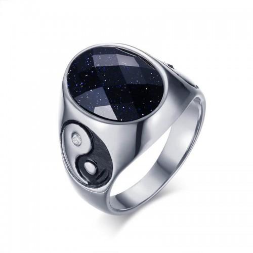 Vyriškas nerūdijančio juvelyrinio plieno žiedas su Yin-yang simboliu