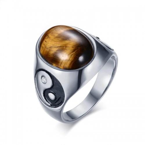 Vyriškas nerūdijančio juvelyrinio plieno žiedas su tigro akies akmeniu