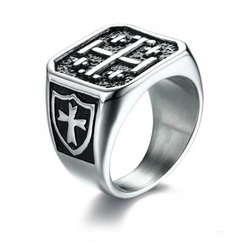Vyriškas nerūdijančio jūvelyrinio plieno žiedas su kryžiaus simboliu