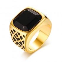Solidus vyriškas nerūdijančio plieno žiedas su agato akmeniu