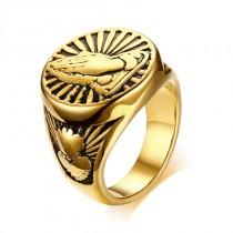 Vyriškas nerūdijančio plieno žiedas su besimeldžiančių rankų simboliu