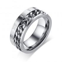 Vyriškas sidabrinės spalvos žiedas su romėniškų skaičių simboliais
