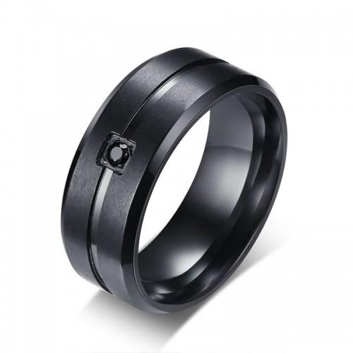 Vyriškas nerūdijančio juvelyrinio plieno žiedas su cirkonio akmenuku