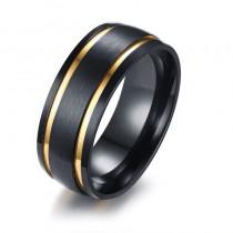 Vyriškas juodos ir auksinės spalvos nerūdijančio plieno žiedas