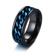 Vyriškas juodos ir mėlynos spalvos žiedas su suktuko funkcija