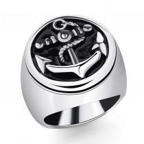 Vyriškas nerūdijančio plieno žiedas su inkaro simboliu