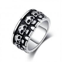 Vyriškas nerūdijančio plieno žiedas su kaukolių simboliais