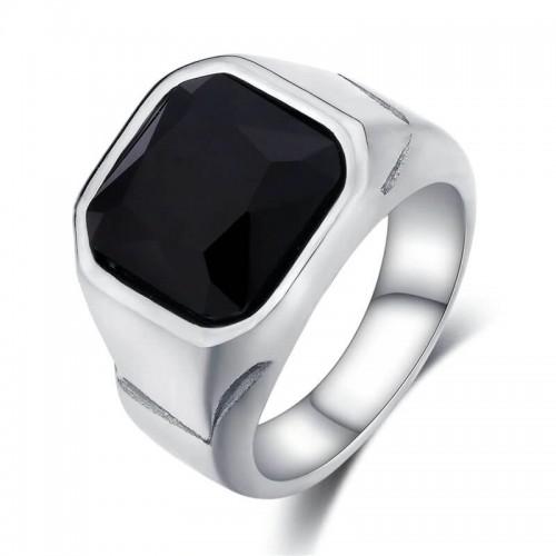 Vyriškas nerūdijančio plieno žiedas su juodu akmeniu