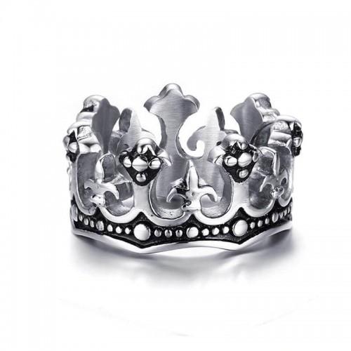 Vyriškas sidabrinis nerūdijančio plieno žiedas su karūnos simboliu