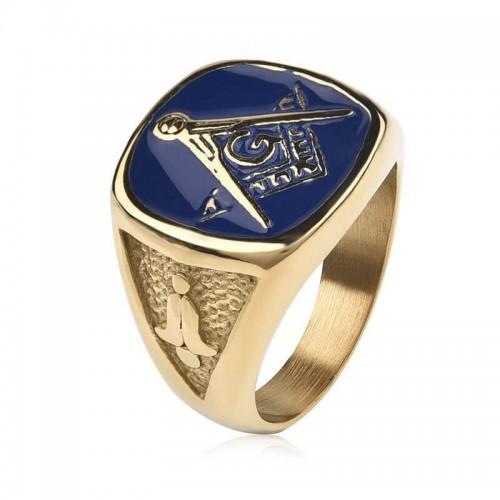 Vyriškas nerūdijančio juvelyrinio plieno žiedas su masonų simboliu