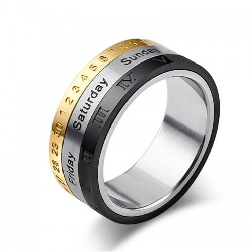 Vyriškas nerūdijančio plieno žiedas su romėniškų ir arabiškų skaičių simboliais