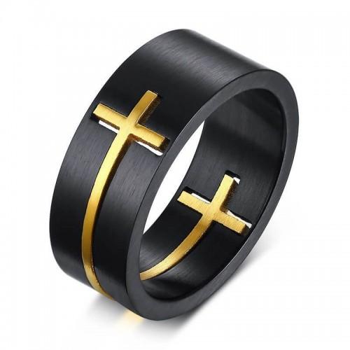 Juodas vyriškas žiedas su aukso spalvos kryžiumi