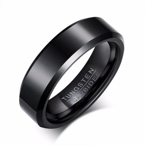Juodas klasikinio stiliaus žiedas iš volframo vyrams