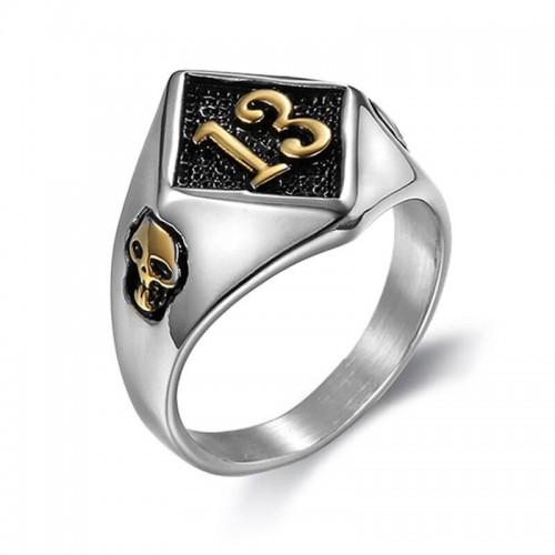 """Vyriškas žiedas su skaičiumi """"13"""" ir kaukolių simboliais"""