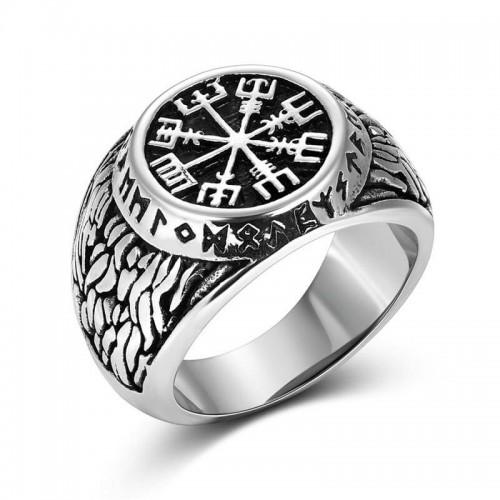 Plieninis vyriškas žiedas su vikingų simboliais