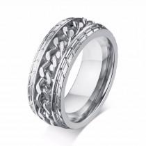 Sidabro spalvos vyriškas žiedas dekoruotas grandinėle