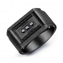 Juodas vyriškas žiedas su cirkonio akmenukais