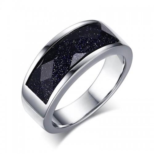 Žibantis vyriškas žiedas su mėlynuoju kalnų akmeniu