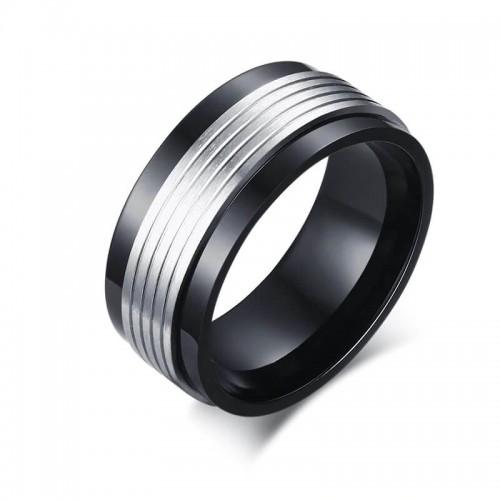 Dviejų spalvų žiedas vyrams iš nerūdijančio juvelyrinio plieno