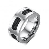 Plieninis sidabro spalvos žiedas vyrui