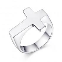 Kryželio formos sidabro spalvos žiedas vyrams