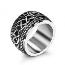 Platus vyriškas žiedas su raštais
