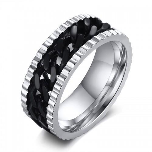Žiedas su besisukančia juoda grandinėle vyrui