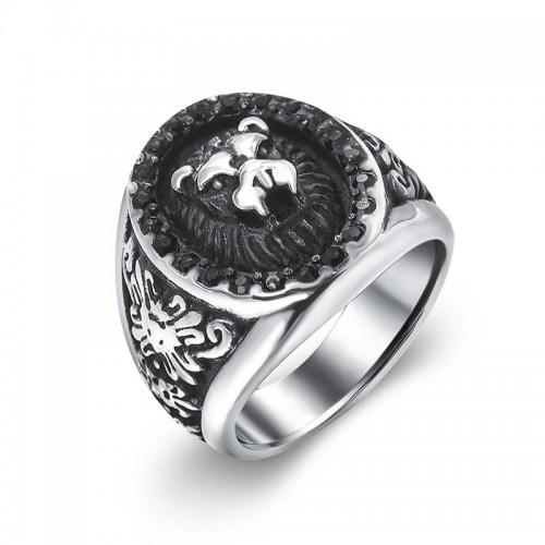 Tvirtas žiedas vyrui su liūto atvaizdu
