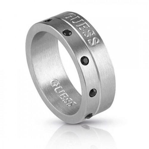 """Vyriškas  nerūdijančio plieno """"GUESS"""" žiedas su juodomis kristalinėmis akutėmis"""