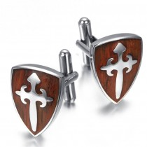Vyriškos sąsagos su medinio skydo simboliu