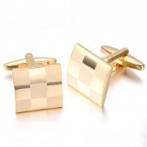 Aukso spalvos vyriškos sąsagos su kvadratėliais