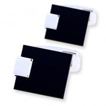Juodos spalvos klasikinės sąsagos vyrams su sidabrine detale
