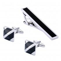 Žalvarinės dryžuotos sąsagos vyrams su kaklaraiščio segtuku
