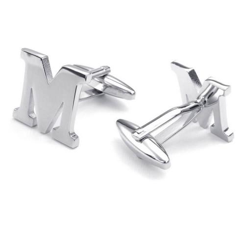 """Vyriškos sąsagos """"M"""" raidės formos iš plieno"""
