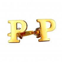 """Varinės aukso spalvos """"P"""" raidės formos vyriškos sąsagos"""