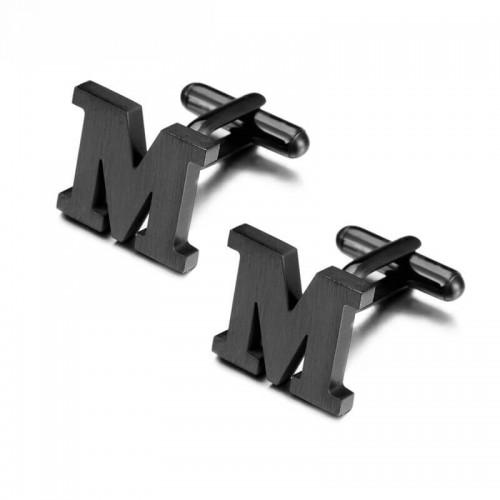 """Juodos spalvos """"M"""" raidės formos sąsagos vyrams"""