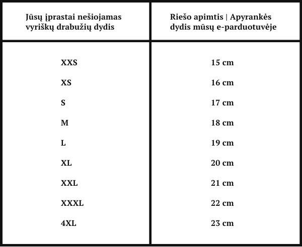 Men's Vector apyrankių dydžių lentelė